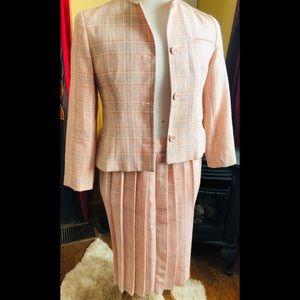 VTG Blush Pink Wool Tweed Check Skirt Suit Jacket